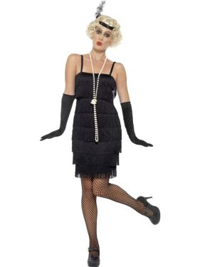 Ladies Flapper Fancy Dress Costume - Black - S, M, L , XL & XXL