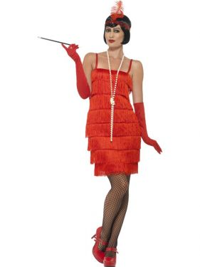 Ladies Flapper Fancy Dress Costume - Red - S, M, L , XL & XXL