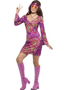 Ladies 60s Woodstock Hippy Chick Costume - S M L & XL