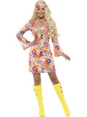 Ladies 60s Flower Hippy Costume