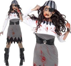 Ladies Halloween Zombie Pirate Lady Costume