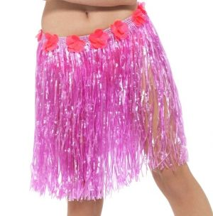 Hawaiian Hula Skirt - Pink with Floral Waist