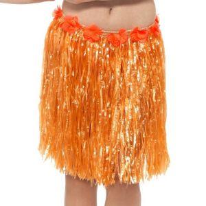 Hawaiian Hula Skirt - Orange with Floral Waist