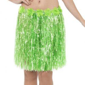 Hawaiian Hula Skirt - Green with Floral Waist