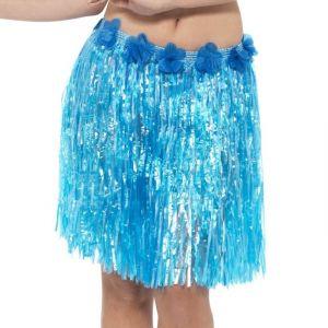Hawaiian Hula Skirt - Blue with Floral Waist