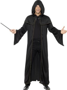 Halloween Fancy Dress Hooded Wizard Cloak