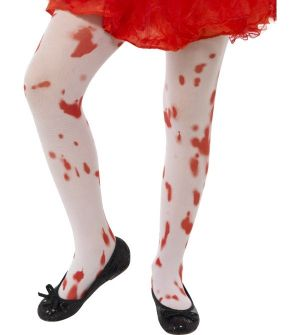 Childrens Halloween Girls Tights with Blood Print