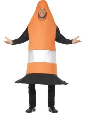Adult Traffic Cone Fancy Dress Costume