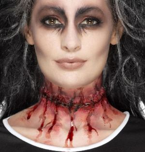 Halloween Stitched Neck Scar Wound Prosthetic