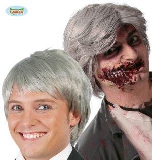 Mens Grey Zombie Wig