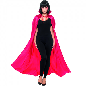 Adult Satin Look Vampire Cape with Collar - Red