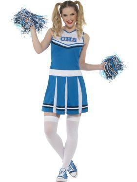 80s Ladies Blue Cheerleader Fancy Dress Costume
