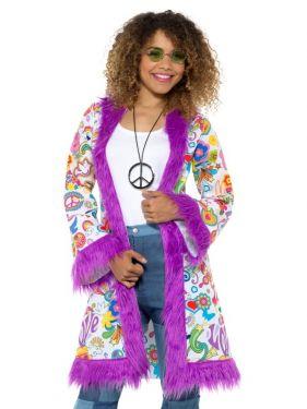 Ladies 60s Groovy Hippy Coat
