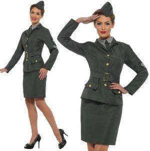 Ladies 40s WW2 Army Girl Fancy Dress Costume