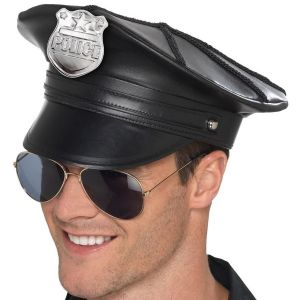 Mens Leather Look Police Hat