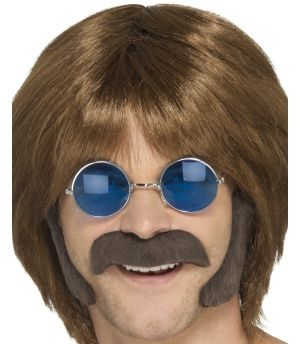 60s 70s Hippy Disguise Set - Brown