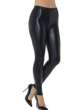 Ladies 70s Metallic Disco Leggings - Black