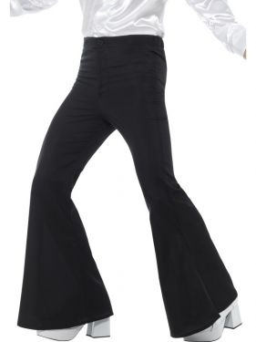 Mens 70s Disco Fancy Dress Flared Trousers - Black