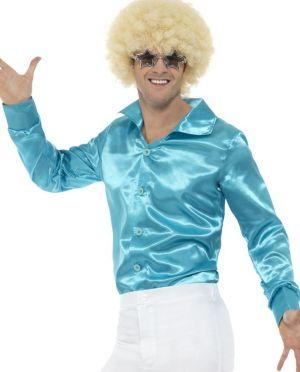 Mens 60s 70s Disco Shirt - Blue