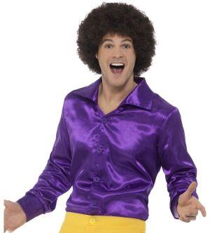 Mens 60s 70s Disco Shirt - Purple