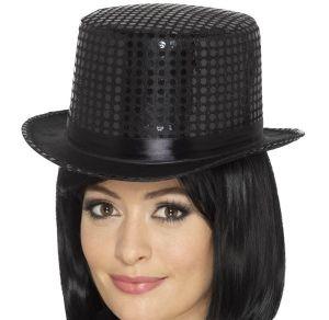 Adult Fancy Dress Sequin Top Hat - Black