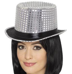 Adult Fancy Dress Sequin Top Hat - Silver