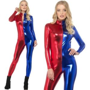 Ladies Miss Whiplash Harlequin Catsuit