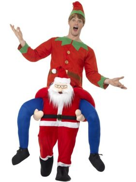Deluxe Piggy Back Christmas Santa Fancy Dress Costume