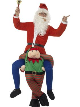 Deluxe Piggy Back Christmas Elf Fancy Dress Costume