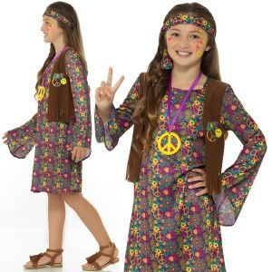 Childrens 60s 70s Hippy Girl Costume
