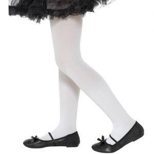 Childrens Girls Opaque Tights - White