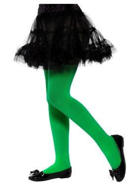 Childrens Girls Opaque Tights - Green