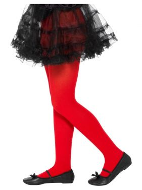 Childrens Girls Opaque Tights - Red