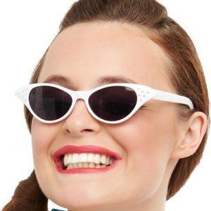 Ladies 50s Rock n Roll Flyaway Glasses - White