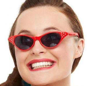 Ladies 50s Rock n Roll Flyaway Glasses - Red