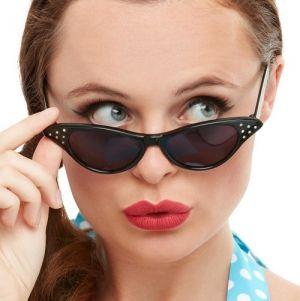 Ladies 50s Rock n Roll Flyaway Glasses - Black