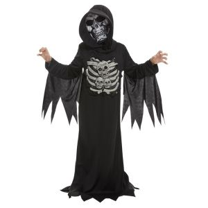 Childs Skeleton Reaper Fancy Dress Costume