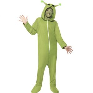 Childrens Alien Onesie Fancy Dress Costume - Green