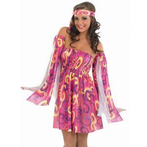 Ladies 60s Swirl Hippy Fancy Dress Costume