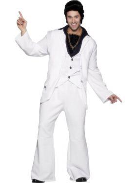70s Fancy Dress - 70s White Suit Costume Night Fever - Medium