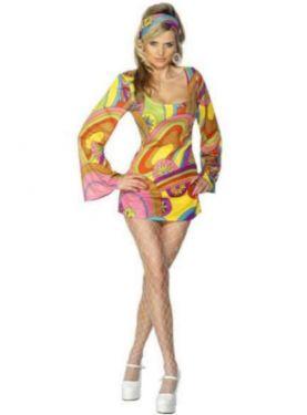 60s Fancy Dress Flower Power Dress Costume