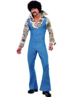 Mens 70s Disco Groovy Dancer Costume - M, L or XL