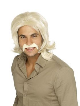 Mens 70s Retro Guy Fancy Dress Wig - Blonde