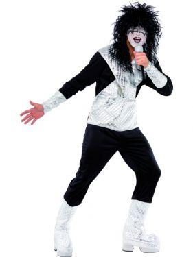 70s 80s Mens Rocker Costume - Black/Silver - M & L