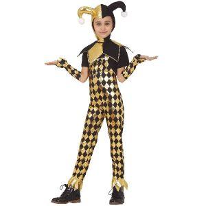 Girls Gold Harlequin Costume