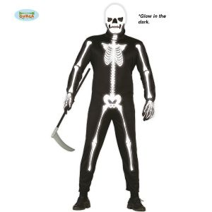 Mens Halloween Glow in the Dark Skeleton Costume