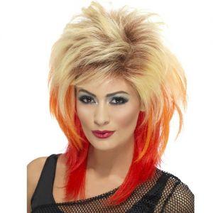 80s Ladies Mullet Fancy Dress Wig - Blonde/Red