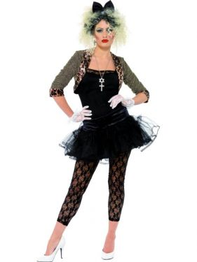 A woman wearing an 80s wild child Madonna costume