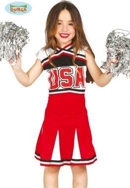Childs Cheerleader Fancy Dress Costume