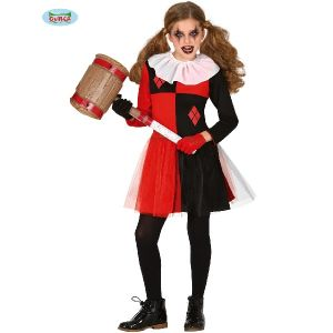 Girls Harlequin Clown Costume